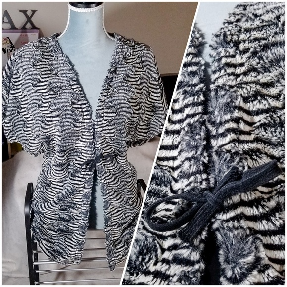f89be3e5 Joseph Ribkoff Sweaters - Joseph Ribkoff Faux Fur Cute Striped Open Cardigan
